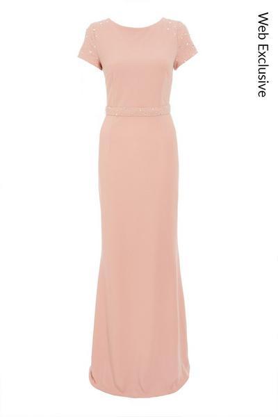 Pink Embellished Shoulder Maxi Dress